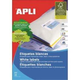 Polyesterové etikety, voděodolné APLI A4 64,6x33,8 20li bílé