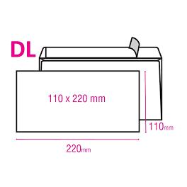 Obálka DL bez okénka samolepicí s krycí páskou 110x220mm